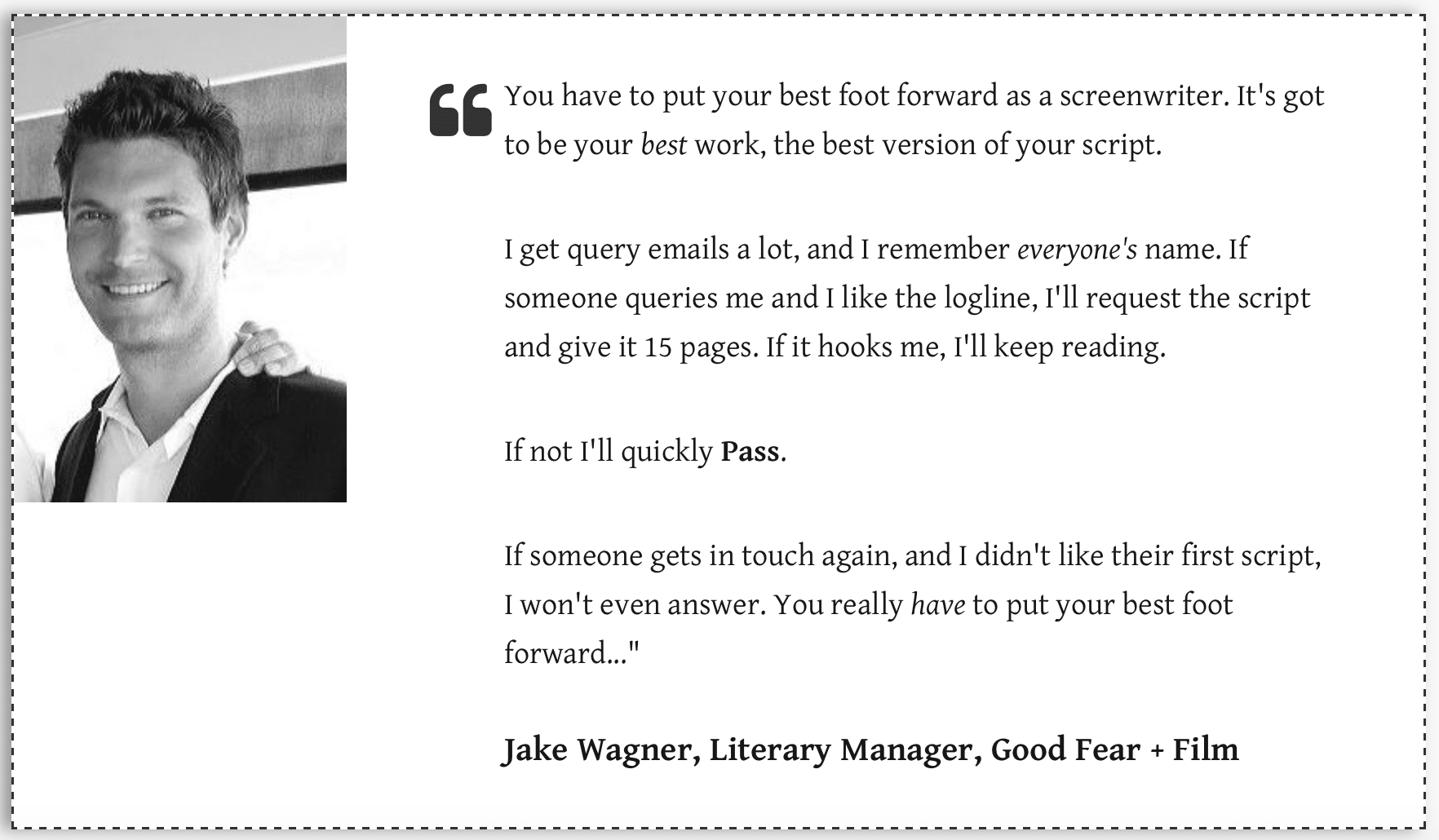 Jake Wagner literary manager